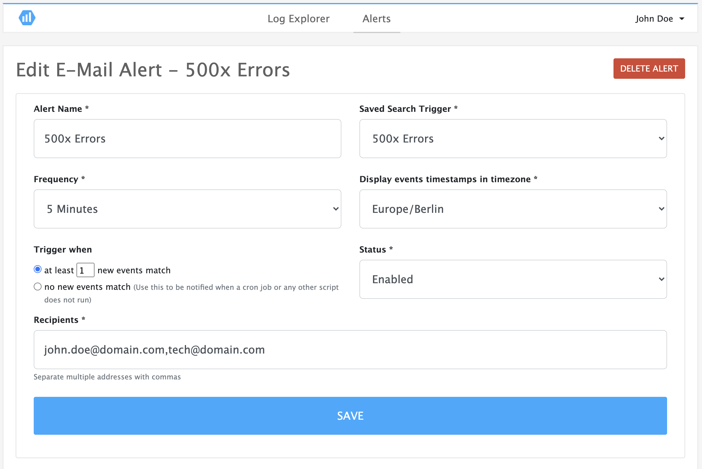 E-mail and Webhook Alerting